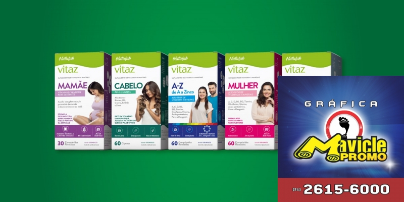 Natulab lança a linha de suplementos vitamínicos e minerais e produtos para a saúde, a Vitaz   Guia da Farmácia   Imã de geladeira e Gráfica Mavicle Promo