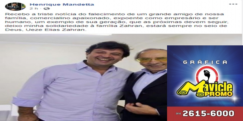 Deputado federal Luiz Henrique Mandetta comentou sobre a morte do empresário em seu perfil no facebook. — Foto: Facebook/Reprodução